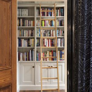 Bespoke Bookshelves With Ladder Rail