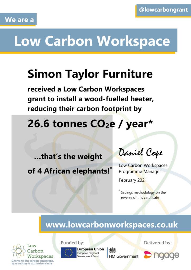 LCW Savings Certificate - Simon Taylor Furniture